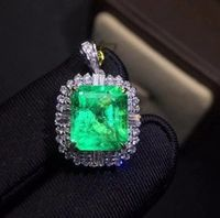fine jewelry colombia real 18k white gold au750 natural emerald gemstones 418ct luxury female pendants for women fine necklace