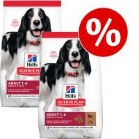 hills science plan canine - pack ahorro - adult 1-6 con cordero y arroz 2 x 14 kg