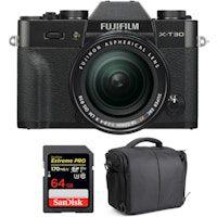 fujifilm x-t30  xf 18-55mm f28-4 r lm ois negro  sandisk 64gb uhs-i sdxc 170 mbs  bolsa  2 anos de garantia