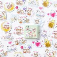 45 pcsbox kawaii animal stickers diary adhesive paper decorative diary planner scrapbooking cute paper sticker label sticke