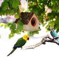 creative bird nest simulado corteza casa forma bird breeding caja juguetes para mascotas