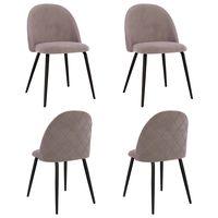 vidaxl sillas de comedor 4 unidades de tela rosa