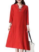 mujer vendimia bordados vestido plus tamano v cuello estilo chino vestidoes