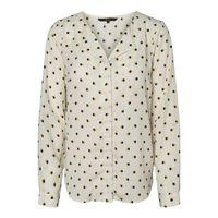 blusa con estampado grafico cuello de pico y manga larga