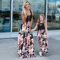 flower mother daughter vest dress mommy and me clothes family matching outfits look high waist mum mom and baby girls dresses