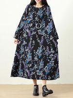 plus tamano vendimia mujer floral impreso maxi vestido