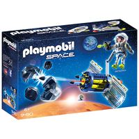 playmobil space satellite meteoroid laser with working cannon 9490