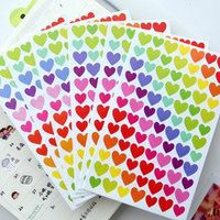 6 sheetslot cute colorful heart dot stickers scrapbooking kawaii stars sticker for diary decoration photo album school student