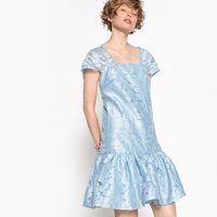 vestido de manga corta de organza y estampado de f