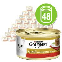 purina gourmet gold tartelette 48 x 85 g - pack ahorro - buey
