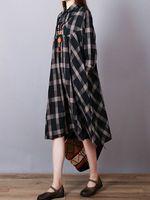mujer vendimia solapa de cuadros de manga larga suelta camisa vestido