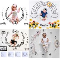 cartoon pattern infant baby milestone photo props background blankets play mats backdrop cloth calendar photo accessories nordic