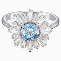 anillo sunshine azul bano de rodio