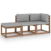 vidaxl muebles de palets jardin 3 pzas cojines madera pino impregnado