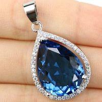 shecrown water drop shape 20x15mm london blue topaz white cz gift for girls silver pendant 32x19mm