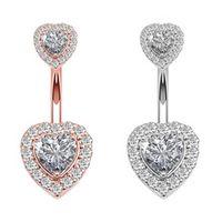 1pc belly button rings stainless steel heart zircon navel piercing bar piercing earring sexy body piercing jewelry women oreja