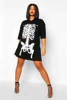vestido estilo camiseta con estampado de esqueleto halloween plus negro