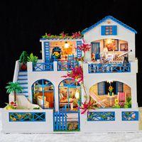 iiecreate k-006 meteor garden diy casa de munecas con cubierta ligera de musica modelo miniatura de casa de munecas