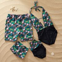 beach family look mother daughter swimwear father son swimming shorts mommy dad and me bikini swimsuits clothes summer dress