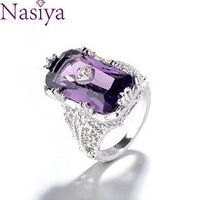 chamfer rectangular amethyst princess ring hollow flower female 925 silver gemstone ring jewelry engagement gift