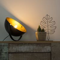 lampara de mesa moderna redonda orientable negra dorada 35cm - magna