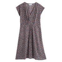 vestido estampado semilargo de manga corta
