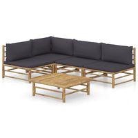 vidaxl set de muebles de jardin 5 piezas bambu y cojines gris oscuro