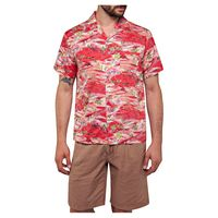 replay m4985 shirt l pale red japanese landscape