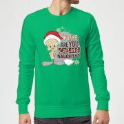 looney tunes who are you calling naughty christmas sweatshirt - kelly green - s - kelly green