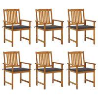 vidaxl sillas de jardin y cojines 6 unidades madera maciza de acacia