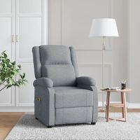 vidaxl sillon de masaje reclinable de tela gris claro
