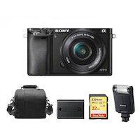 sony a6000 negro kit sel 16-50mm f35-56 oss negro  tarjeta sd de 32 gb  bolsa de la camara  np-fw50 bateria  hvl-f20m flash