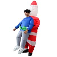 adult inflatable costume santa claus air blowing up clothes funny toys -  red