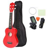 21 inch basswood soprano ukulele con gig bolsa sintonizador rojo