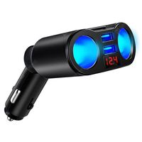 dual usb  dual cigarette lighter car charger digital display abspc rotatable charger -  white