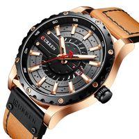 curren reloj para hombre movimiento de cuarzo correa de cuero pantalla de tiempo y calendario diseno luminoso 3atm pulsera de moda masculina impermeable para negocios y vida diaria