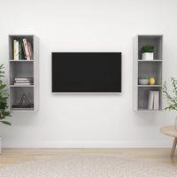 vidaxl muebles de pared para tv 2 uds aglomerado gris hormigon