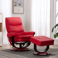 vidaxl sillon reclinable de masaje cuero sintetico madera curvada rojo