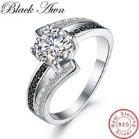 black awn real 100 925 sterling silver jewelry black spinel wedding rings for women femme ring bague gift c334