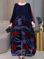 estilo chino vendimia terciopelo remiendo de manga larga vestido para mujer