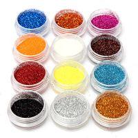 12 colores de unas de acrilico extremidades del arte del polvo del polvo del brillo