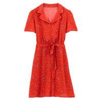 vestido recto con estampado de flores semilargo