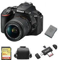 nikon d5600 kit af-p 18-55mm f35-56g vr  tarjeta sd de 64 gb  bolsa de la camara  en-el14a bateria  lector de tarjetas de memoria