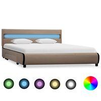 vidaxl estructura de cama con led cuero sintetico capuchino 140x200 cm