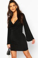 textured slinky cowl front shift dress negro