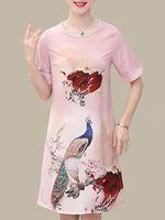 elegant mujer o-neck artwork print vestido