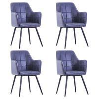 vidaxl sillas de comedor 4 unidades piel de ante artificial gris