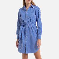 vestido camisero a rayas de manga larga