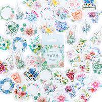 46pcsbox fresh flower language diary decoration stickers diy planner scarpbooking sealing label sticker children stationery