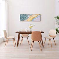 vidaxl sillas de comedor 4 unidades cuero sintetico color crema